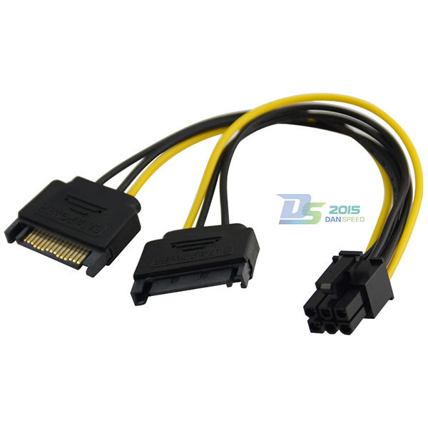 20cm Dual SATA 15P Male to PCI-E 6P Female Video Card Y Splitter Power Cable M/F(China (Mainland))