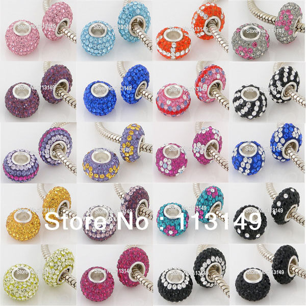 Free Shipping Czech Rhinestone Crystal Silver European Beads 925 Stamped High Quality Wholesale Large Hole Charms Spacers<br><br>Aliexpress