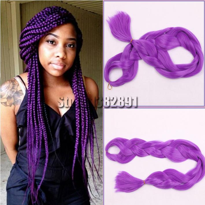 Free Shipping 165g Synthetic Kanekalon Purple Braiding Hair Xpressing Braiding Hair For Box ...