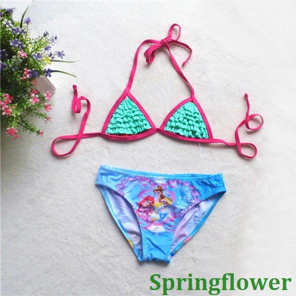 2015 wrinkle Kids Bikini swimsuit swimwear bathing suit girls child bikini children - springflowertea store