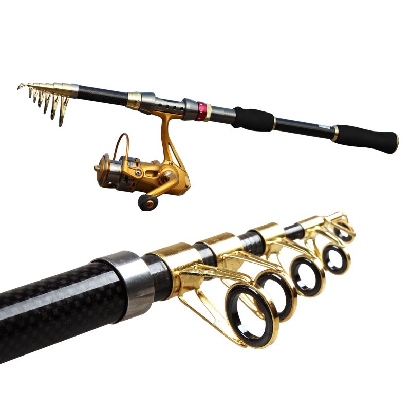Hot top quality carbon telescopic travel fishing rod with for Best telescoping fishing rod