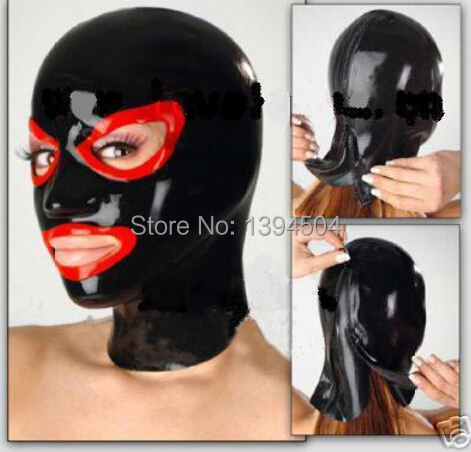 2015 Promotion Real Women Body Sexy Sexo Sexy Latex Hoods Mask Open Monochrome Common Hood Spliced