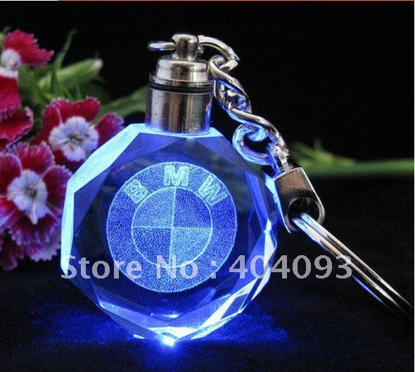 Free Shipping 3d crystal inner laser LED keychain, keyring / fast delivery , crystal key chain crystal keychain laser keychain