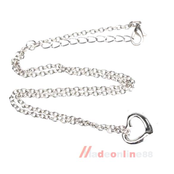 Silver Color Very Small OPEN HEART Charm Necklace I M3AO(China (Mainland))