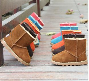 2014 Free Shipping Winter Shoes Kids Snow Boots Leather Children Shoes Martin Boots Waterproof Baby Cotton- padded Shoes(China (Mainland))