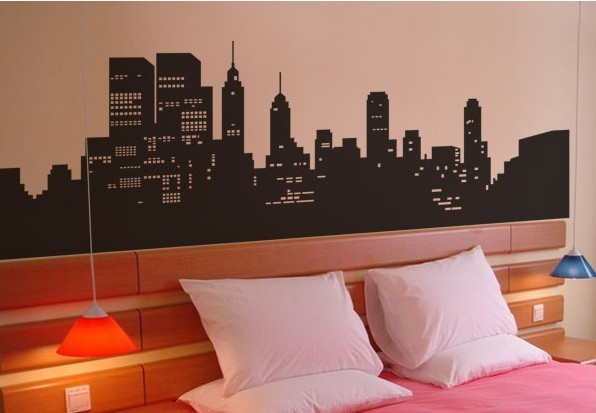 New york city vinyl wall decal beautiful night view of for Stickers para habitaciones juveniles