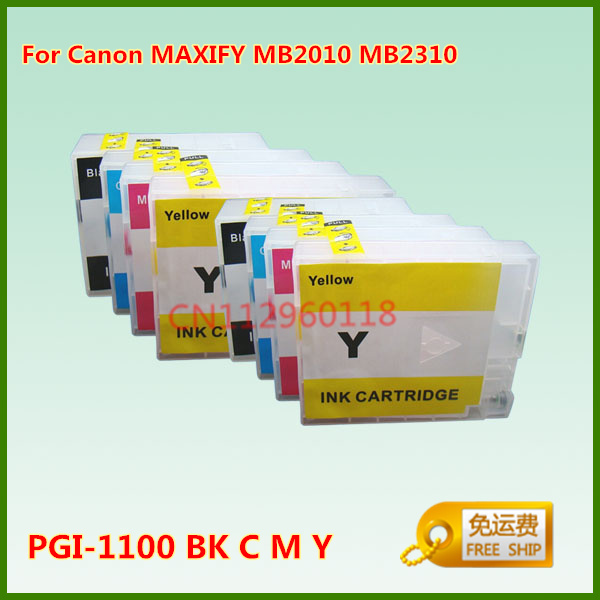PGI-1100 PGI-1100XL Refillable Ink Cartridge For Canon MAXIFY MB2010 MB2310 Printer With Chips 4Pcs