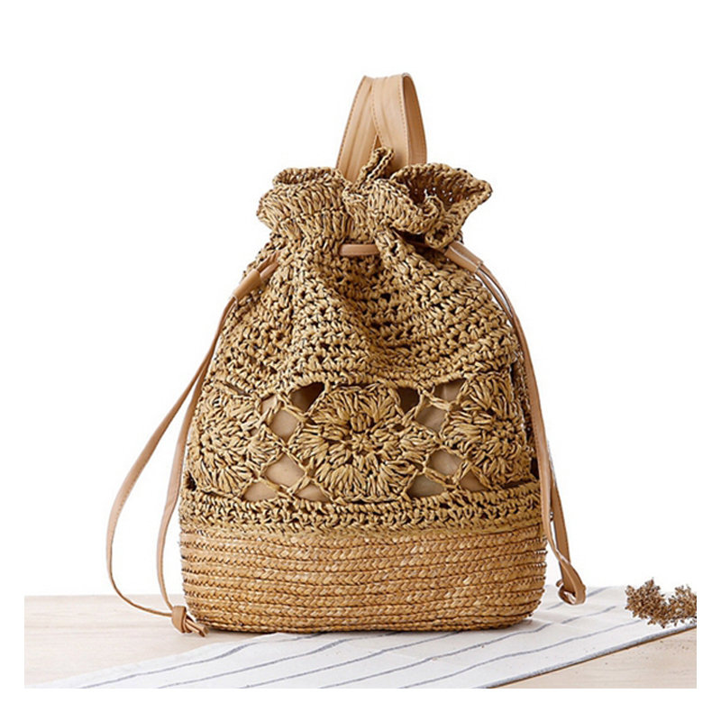 Crochet Straw beach bag Floral Pattern handmade Summer Double Shoulder ...