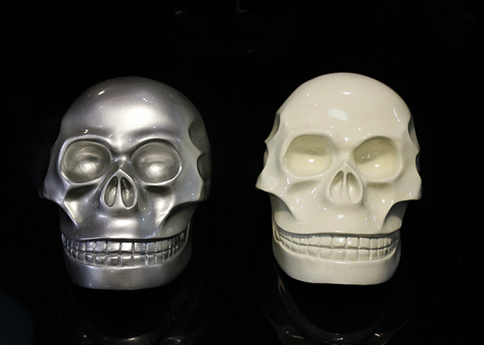 Modern Art Skull Head Silver/White Simulation Desktop Furnishing Articales Resin Crafts Deocration Ornament Best Gift Collection(China (Mainland))