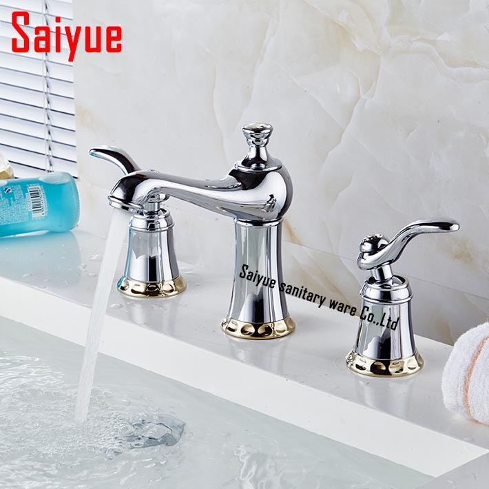Mini Widespread Three Hole Bathroom Basin Sink Faucet Dual Handle Water Mixer