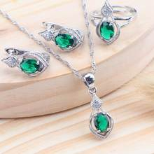 Bridal 5 Color Zircon 925 Sterling Silver Women Jewelry Sets Wedding Costume Kids Jewelry Ring Earrings Necklace Set Jewellery(China)