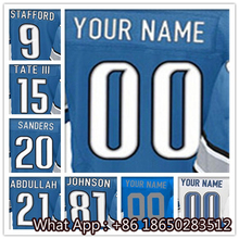 Men's #9 Matthew #15 Golden #20 Barry #21 Ameer #81 Calvin Men's Blue Light Blue White Football Jersey 100% Stitched with Custom(China (Mainland))
