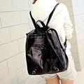 2016 New Korean Style PU Backpack Fashion Large Trendy Travel Bag Simple Belt Buckle Ornament Designer