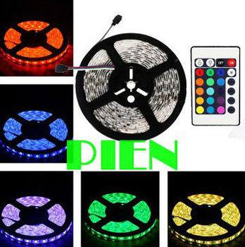 Fita tape 5050 RGB LED Strip Waterproof 300LEDs 5M SMD luz tiras ruban for garland 12V +Remote Controller Free Shipping 1 set