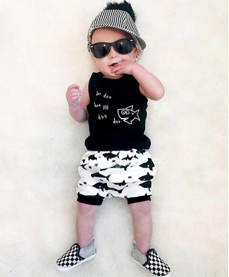 2016 summer baby boy clothes set cotton Fashion letters sleeveless T-shirt+pants 2pcs Infant clothes newborn baby clothing sets(China (Mainland))