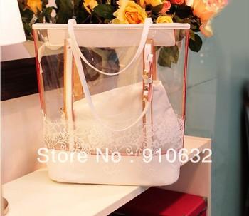 Bag in Bag Women Jelly Clear Lace Transparent Handbag Hobo Tote Shoulder Bag