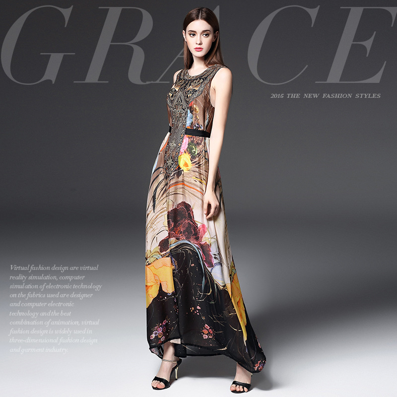 Europe spring 2016 new women's agency in Europe and America high-end fashion dress printing tie long temperament