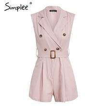 Mono corto de algodón de mujer caqui con bolsillos de verano con botones y cremallera(China)