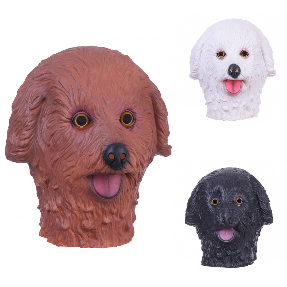 Cute Full Face Adult Teddy Dog Latex Masks Breathable Halloween Masquerade Fancy Dress Party Cosplay Costume Mask 3 Colors(China (Mainland))