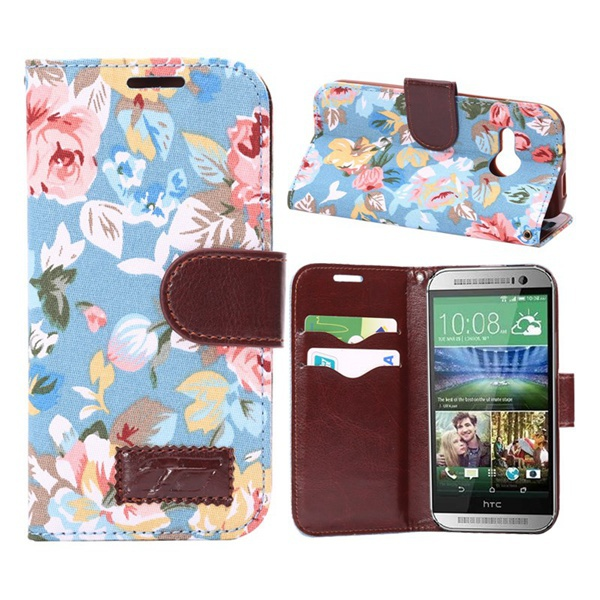 For HTC m8 mini,Pretty Flowers Cloth Skin PU Leather Stand Cover w/ Card Slots for HTC One Mini 2 / M8 Mini Free Shipping(China (Mainland))