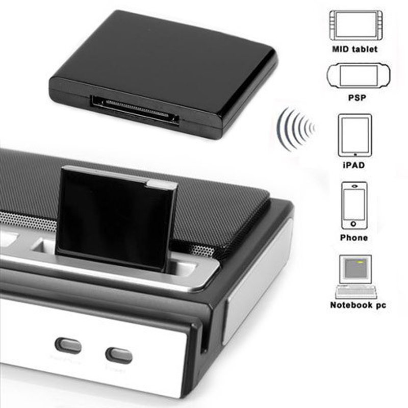Wireless Stereo Bluetooth Music Receiver for iPhone iPad iPod 30-pin Dock Speaker Boombox (Remarks colors)(China (Mainland))