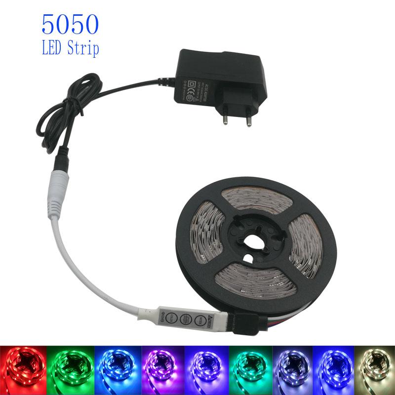 RGB led strip Light 5050 4M led light Flexible rgb Leds tape diode strip ribbon mini 3keys Controller dc 12V Adapter(China (Mainland))