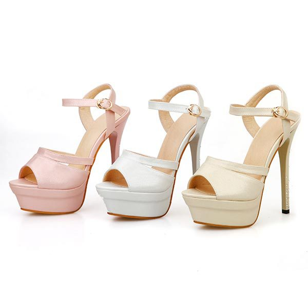 2015 summer new fashion round toe platform high heels casual and comfortable shoes fish head solid color thick heels D827<br><br>Aliexpress