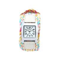 Venta caliente moda Casual relojes hechos a mano cuerda trenzada de pulsera relojes pulsera mujeres del reloj relogio feminino White