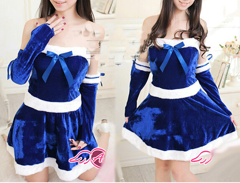 Short And Sexy Blue Christmas Elf Costume Santa Suit Night Clubs Spice Girls Costumes New Year Parties Sexy Costumes(China (Mainland))