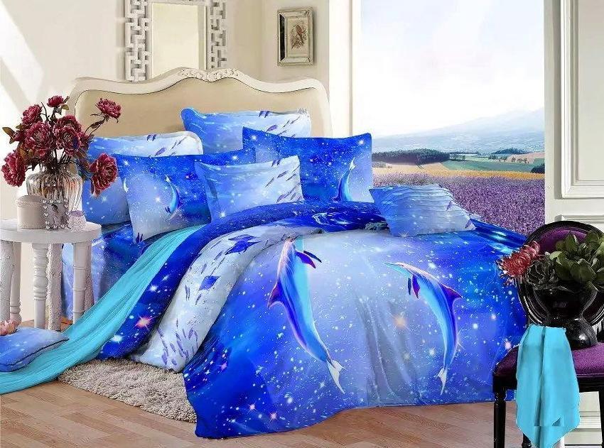 Aliexpress Com Buy 3d Blue Ocean Bedding Set Queen Size