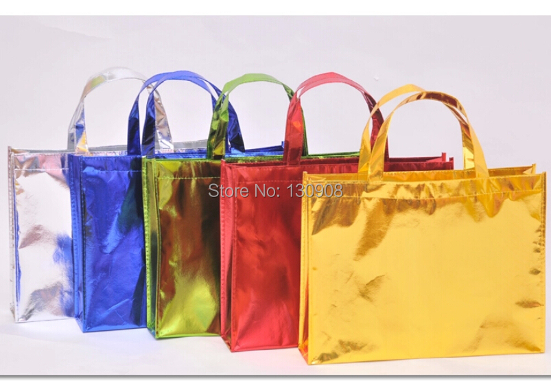 Size Size 40*10*30cm large High end gold color fabric shopping bag, non-woven shopping bag(China (Mainland))