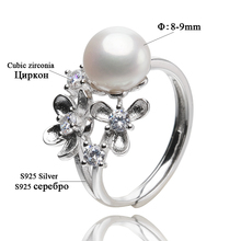 Flower shape Pearl Rings For Women's 8-9mm White Natural Freshwater Pearls 100% 925 Sterling Silver Rings Fine jewelry