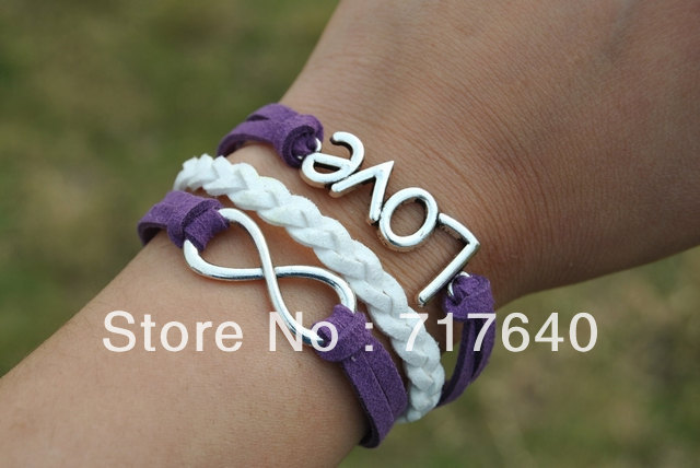 Free shipping!6pcs/lot! Braided Purple White Leather Rope Multilayer Bracelet Silver Alloy Fashion LOVE Infinity Jewelry C-047(China (Mainland))