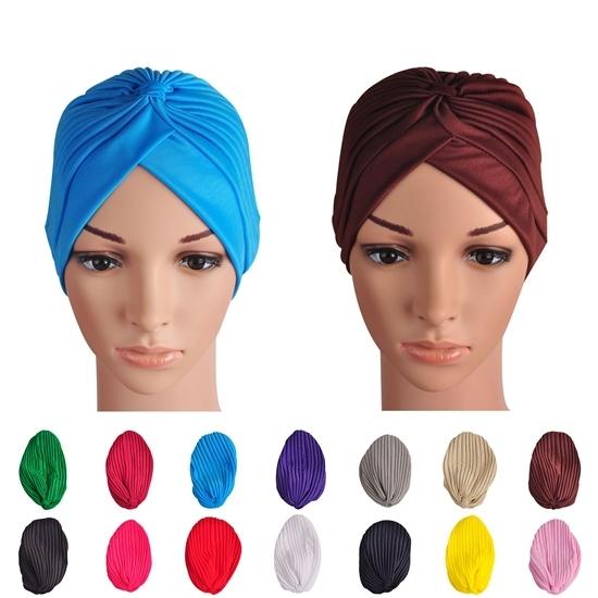 Сплошной цвет эластичный накидка бандана индийский кепка для женщины