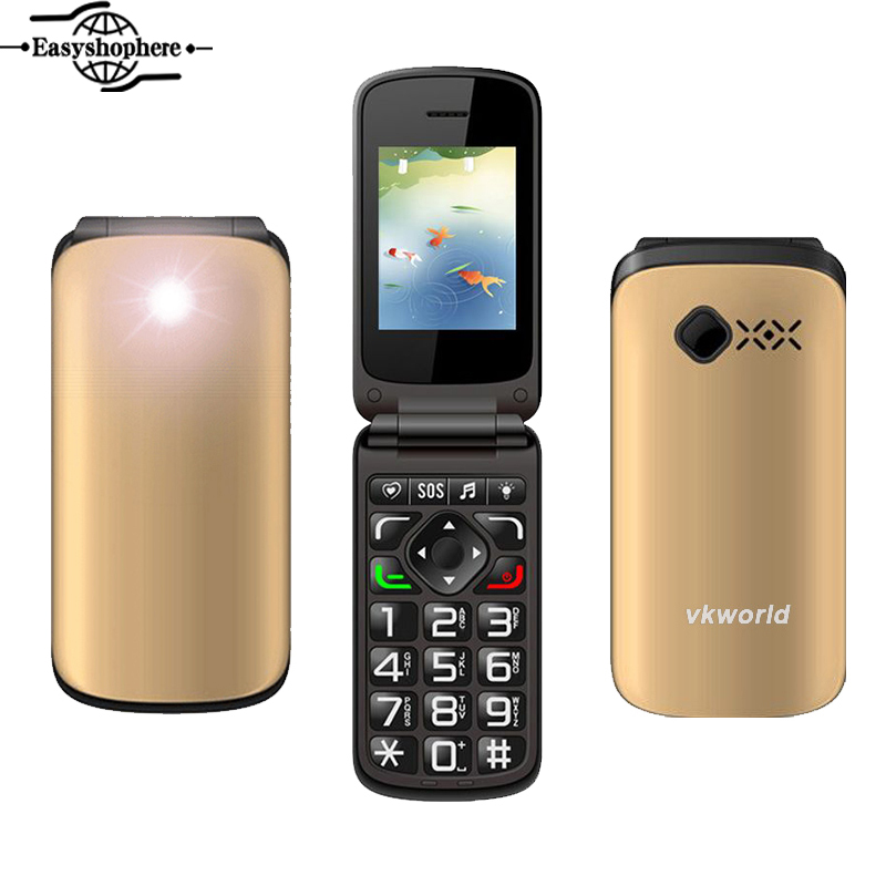 Brand New VKworld Z2 Cell Phone Large Button TFT Flip Elders Dual SIM Card 0.3MP Camera FM Key Function 800mAh Mini Mobile Phone(China (Mainland))