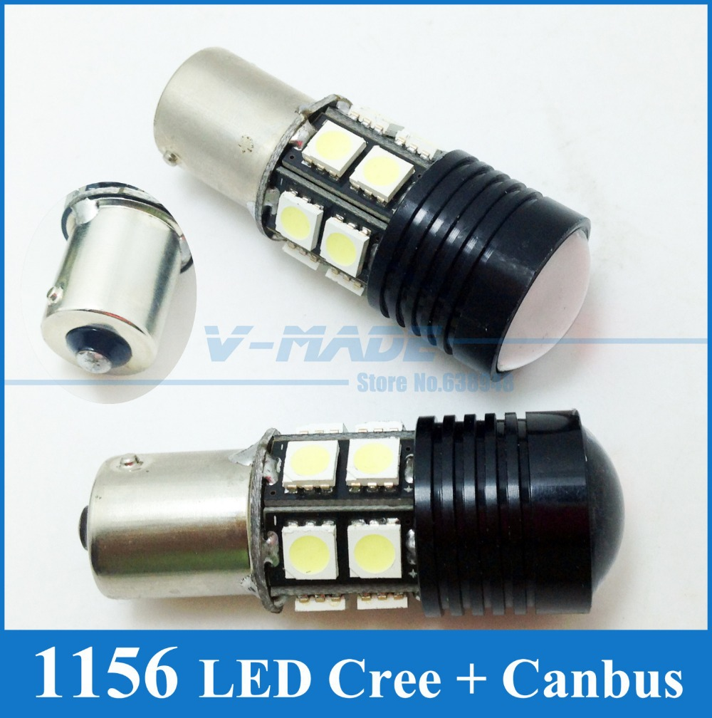Гаджет  2pcs Car Reverse Lights CREE R5 Spot Lens12V 12W 1156 6000K LED Rear Turn Signal P21W Parking Lights S25 Buckup Light Fog Lamp None Автомобили и Мотоциклы