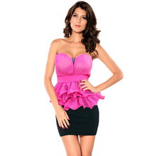 2014 New Fashion American European Lady Women Celebrity Style Ruffles Cotton Chiffon Contrast Cocktail Party Dress vestido