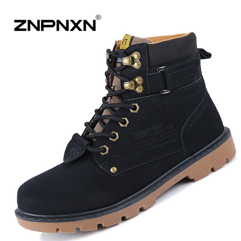 New 2015 Winter Mens Boots Casual Black PU Leather Ankle Boots For Men Shoes Fashion Work