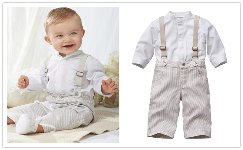 Fashion strap set /Baby boy set white shirt + plaid strap pants/Gentleman outfit in British ...