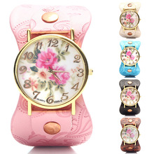 La nueva moda ginebra peonía flor Vintage mujer cuero reloj de cuarzo reloj de vestir informal damas Rhinestone reloj de pulsera envío gratis