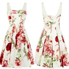 Free Shipping Popular Fashion Women Slash neck Flower Printed Trendy Formal Party Dress 2013(China (Mainland))
