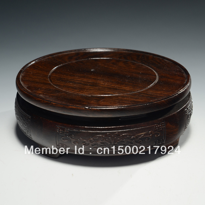 chinese style solid wooden vase base raised pattern Adornment Upscale gift(China (Mainland))