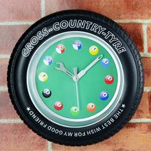 3D Wheel Fashion Tyre Wall Clock Creative Desk Table Clock Alarm Clock Fashion Billiards Pattern Silent Non-ticking Wall Clock(China (Mainland))
