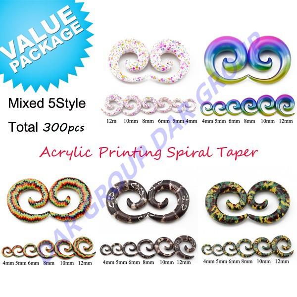 DAR 300pcs UV Acrylic Printing Spiral Taper Snail Plugs Swirl Expander Stretching Gauge Kit Piercing Jewelry Set 4mm-14mm