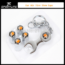 Hot Selling S Metal 5PCS/SET Auto Car Air Tire Stem Caps, Tire Value Cover with spanner key ring Free Shipping(China (Mainland))