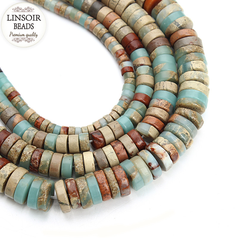 LINSOIR 4 6 8 10 mm Oblate Natural Stone Beads For Jewelry Making Loose Spacer Beads Fit Diy Necklace Bracelet Findings F3678(China (Mainland))