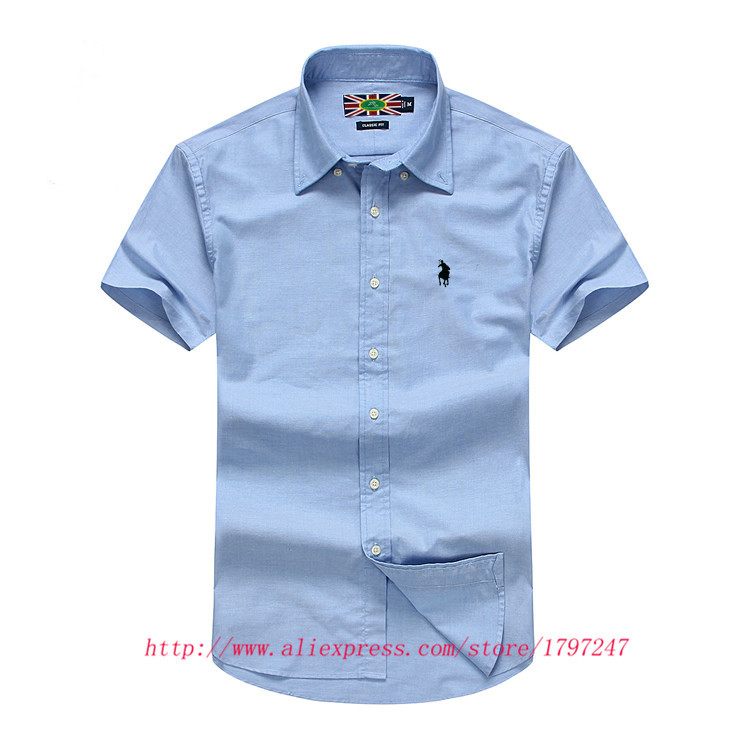 2015 summer men name brand casual shirts social short