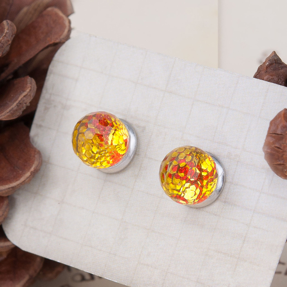 8SEASONS Resin Mermaid Fish /Dragon Scale Women Ear Studs Earrings Red & Yellow Round Transparent Faceted 18mm x 8mm, 1 Pair(China (Mainland))