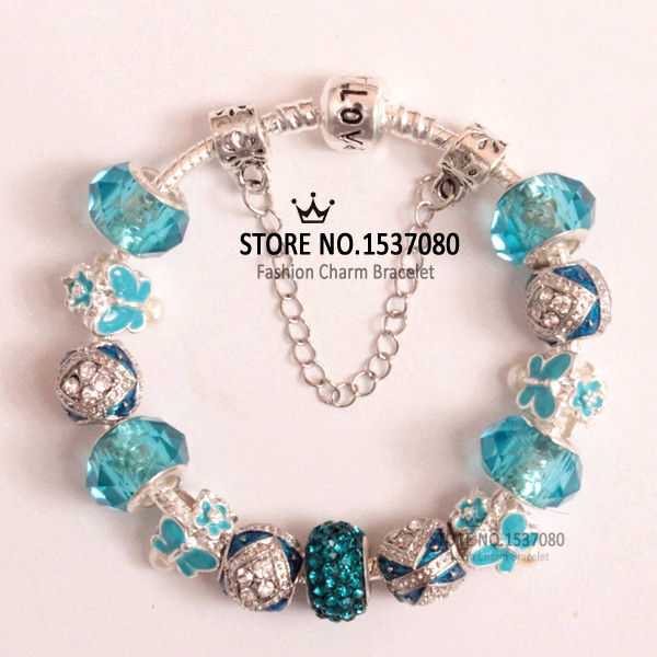 (BC)Hot European Pop Blue Charm Butterfly Beads Fit it Pandora Style Bracelet For Women Holiday gift Blue Butterfly Beads P-HD-2(China (Mainland))