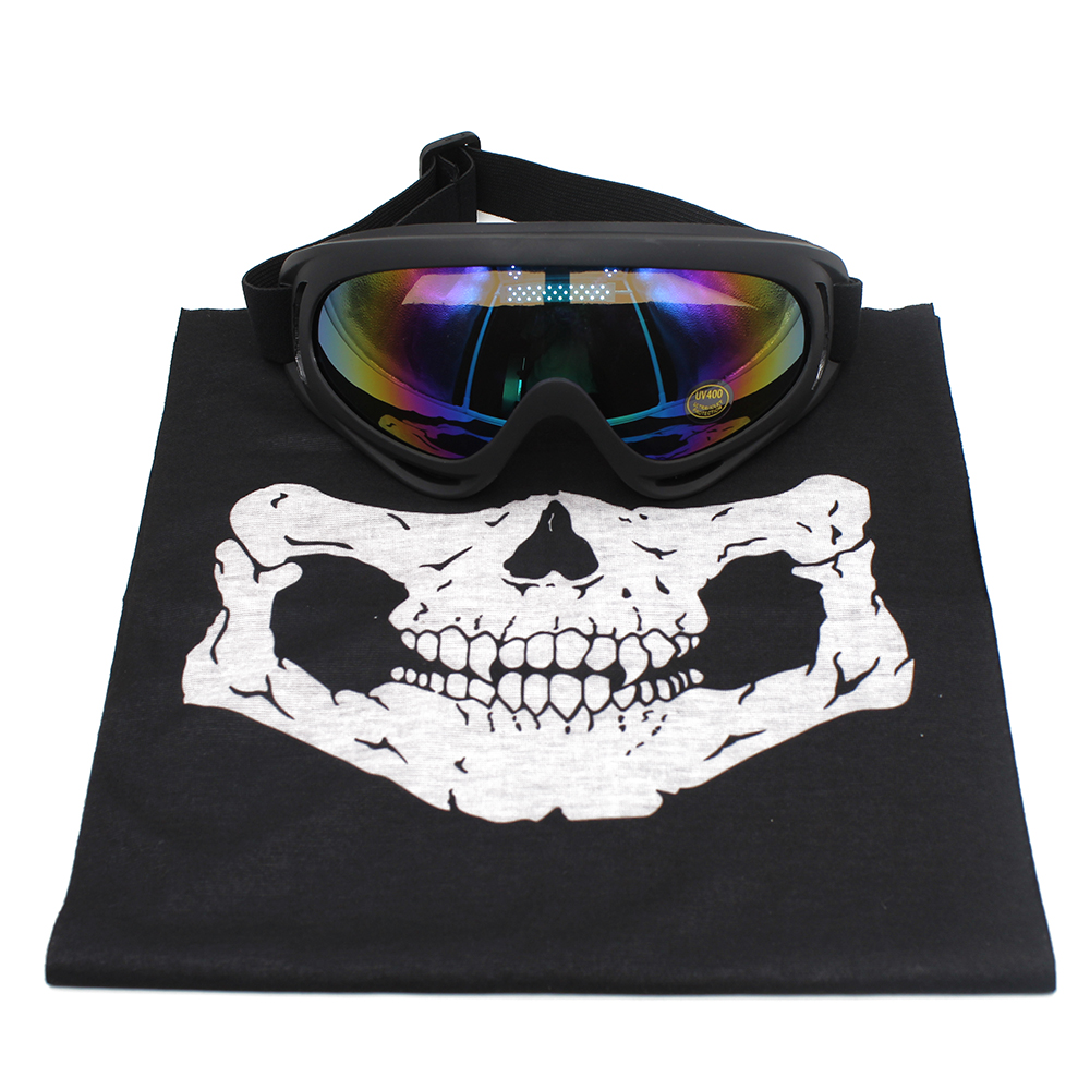 Halloween Skull Skeleton Outdoor Motorcycle Bicycle Multifunction Headwear Hat Scarf Half Face Mask Cap Neck Ghost Scarf+Goggles(China (Mainland))